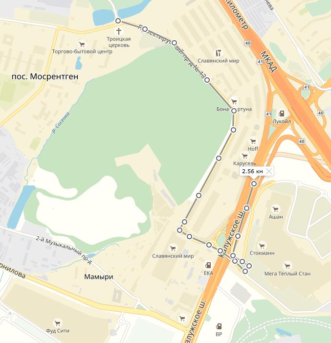 Перекрытый выезд из Мосрентгена на Калужское шоссе в сторону Москвы