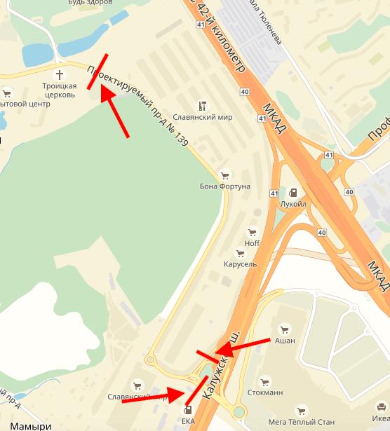 Перекрытые дороги из Мосрентгена на Калужское шоссе